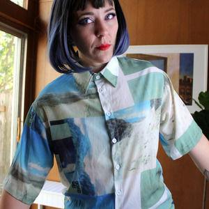 Geo Landscape Button Up Shirt Blouse